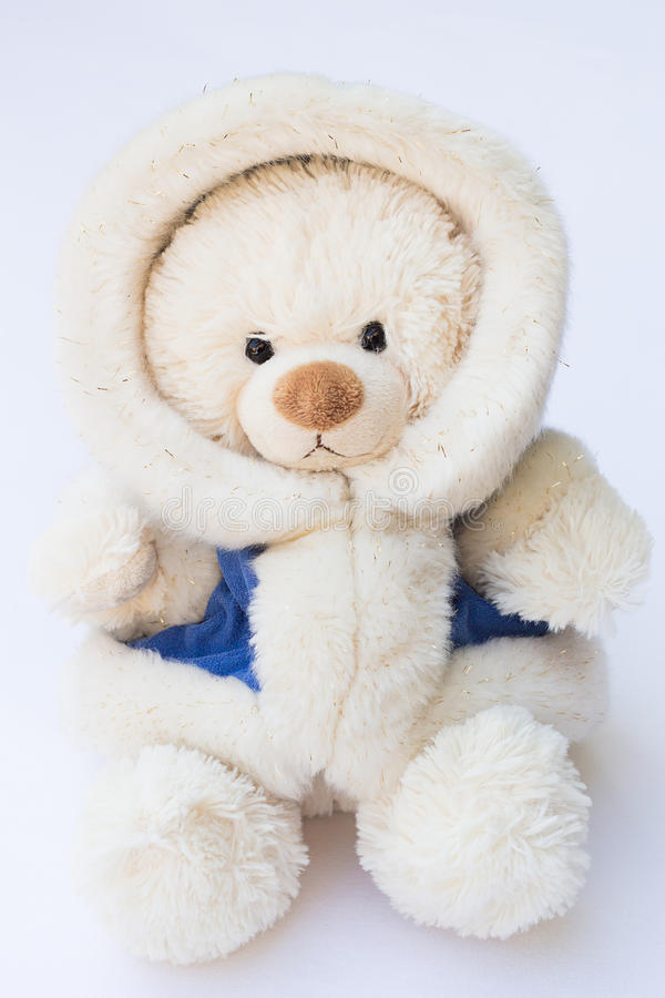 white teddy bear in a fluffy winter coat stock photo. Black Bedroom Furniture Sets. Home Design Ideas