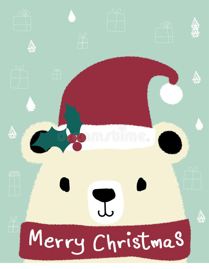 White teddy bear wears red santa clause hat, royalty free illustration