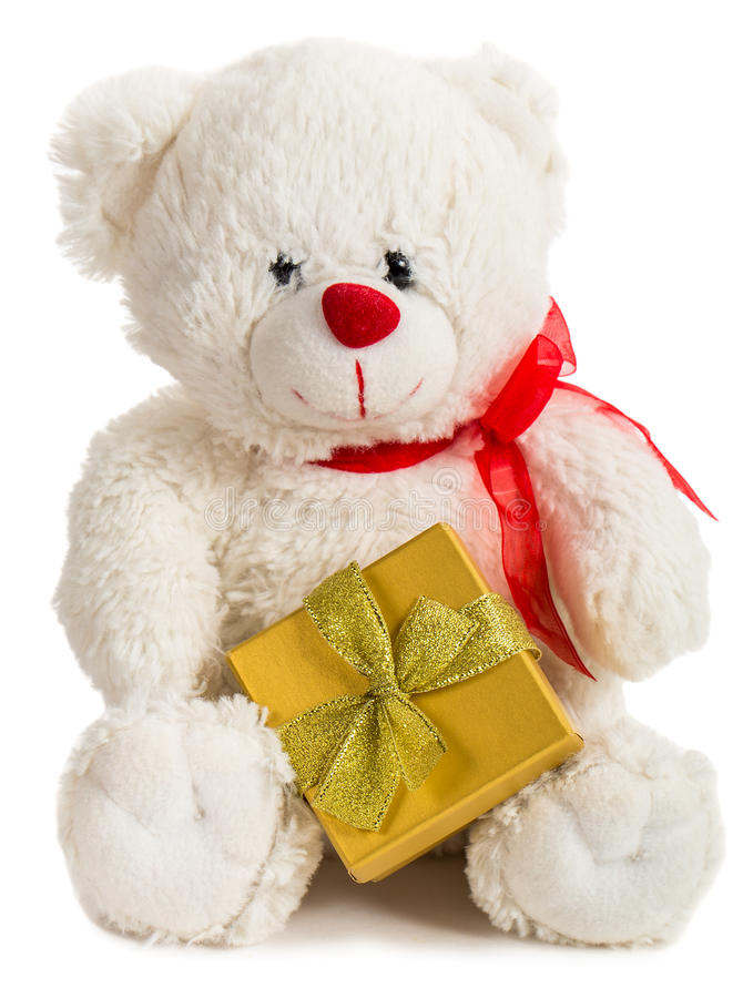 Free White Teddy Bear With Present Box Royalty Free Stock Photo - 84433325