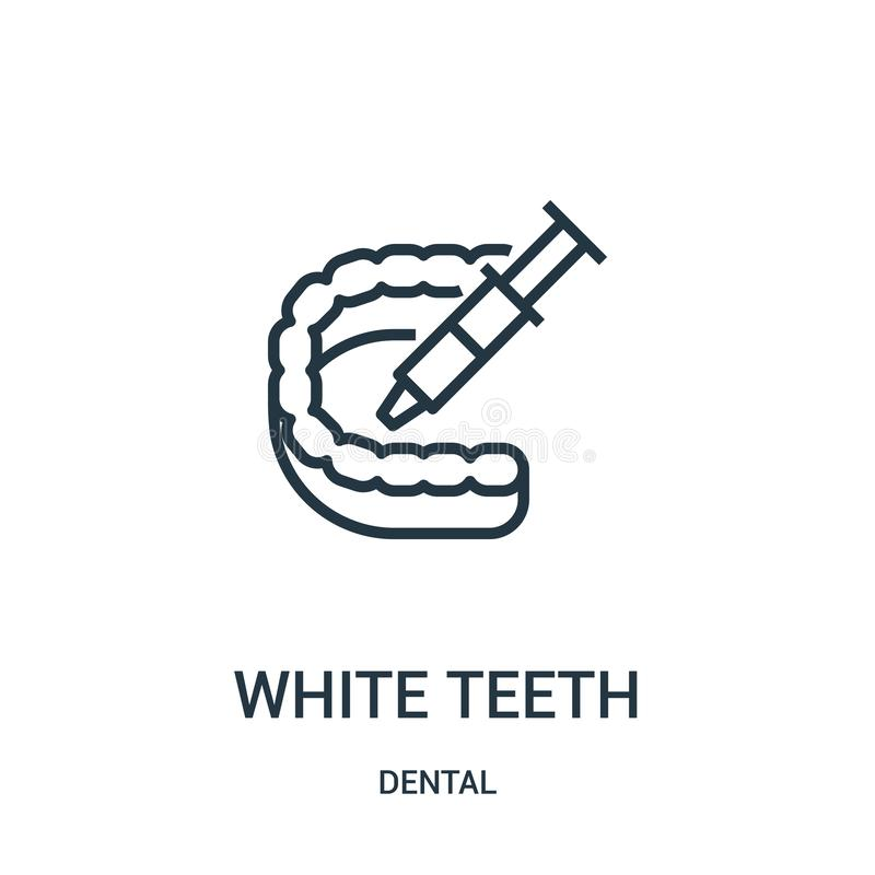 White teeth icon vector from dental collection. Thin line white teeth outline icon vector illustration. Linear symbol. For use on web and mobile apps, logo vector illustration