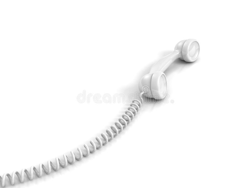 White telephone handset with spiral wire cable. 3d royalty free stock photos