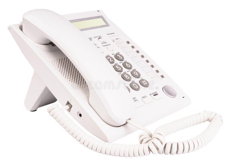 White telephone set stock photos