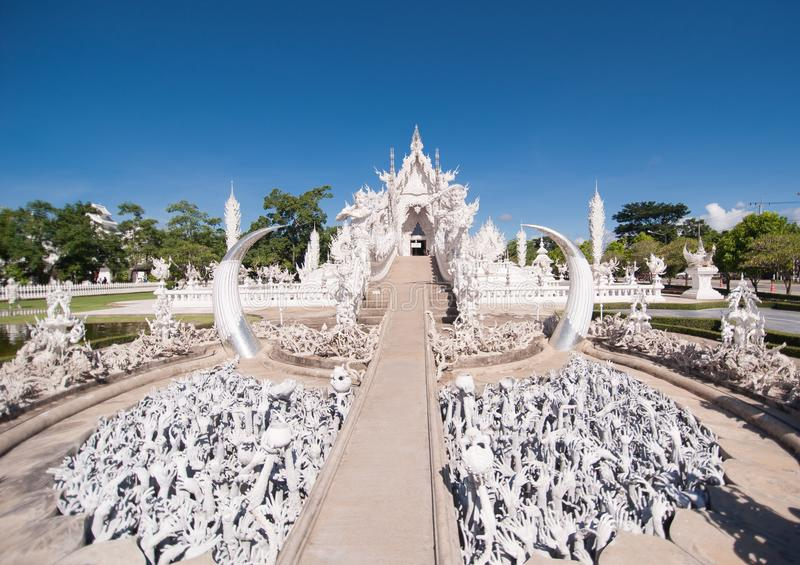 White Temple. A popular tourist destination in Chiang Rai, Northern Thailand. Tours run daily from Chiang Mai and Chiang Rai and this is one of the stops royalty free stock photo