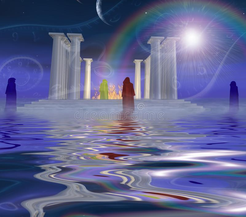 White temple. Surreal digital art. White ancient temple with fire inside is situated on a water surface. Priests stands around. Parade of planets. Spirals of vector illustration