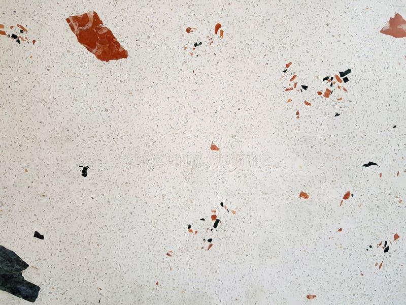 White Terrazzo Stone Flooring, small tiles stock photo