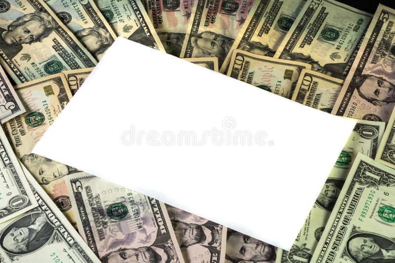 White Text Area on a Background of US Currency stock image
