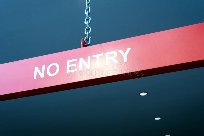No Entry Sign on Chain royalty free stock photography