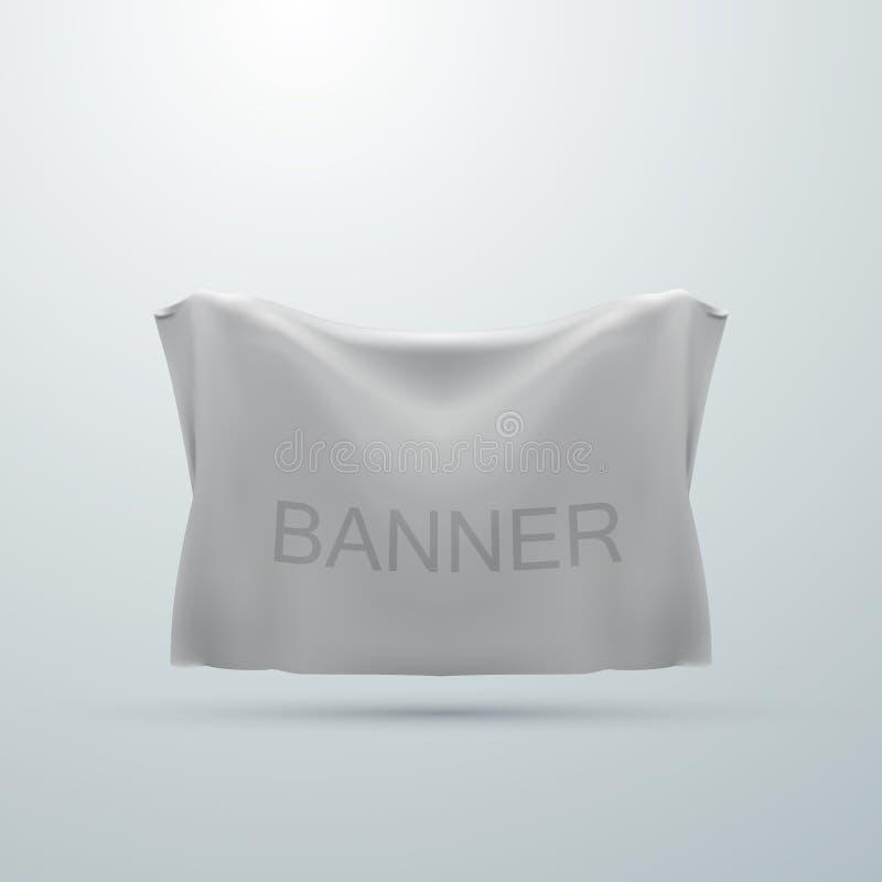White textile banner mock-up vector illustration