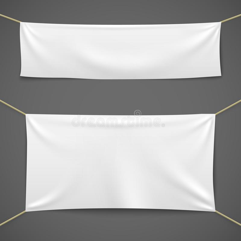 White textile banners. Blank fabric flag hanging canvas sale ribbon horizontal template advertising cloth banner set royalty free illustration