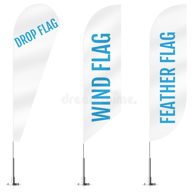 Beach Flag Mockup  White Blank Feather Banner Stock Vector