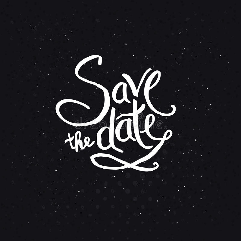 White Texts for Save the Date Concept stock illustration