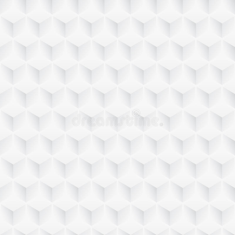White texture - cubes seamless background. White geometric texture - seamless. 3d cubes pattern stock illustration