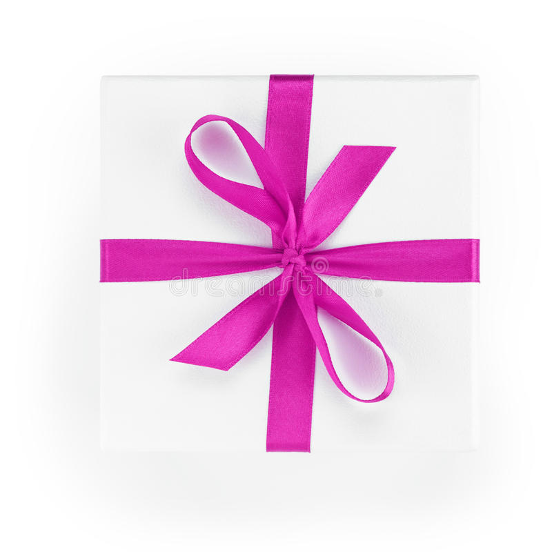 White textured gift box with purple ribbon percent symbol. From above stock images