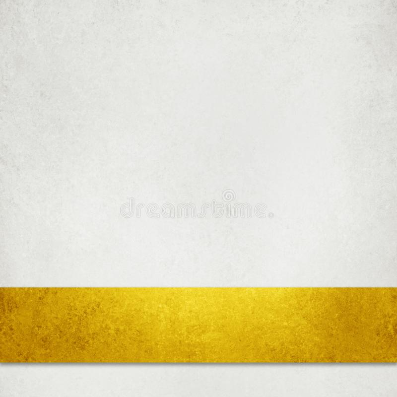 White textured paper background illustration with elegant rich gold ribbon or stripe in layered material desig stock image