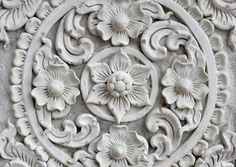 White thai art stucco wall,Thai temple stock photo