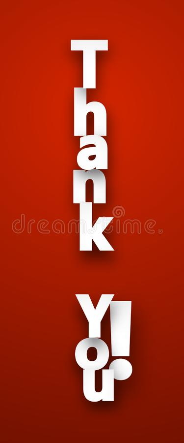 Paper thank you sign. vector illustration