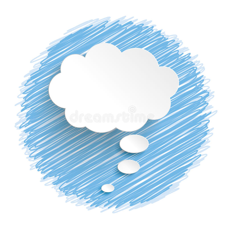 White Thought Bubble Blue Scribble stock illustration