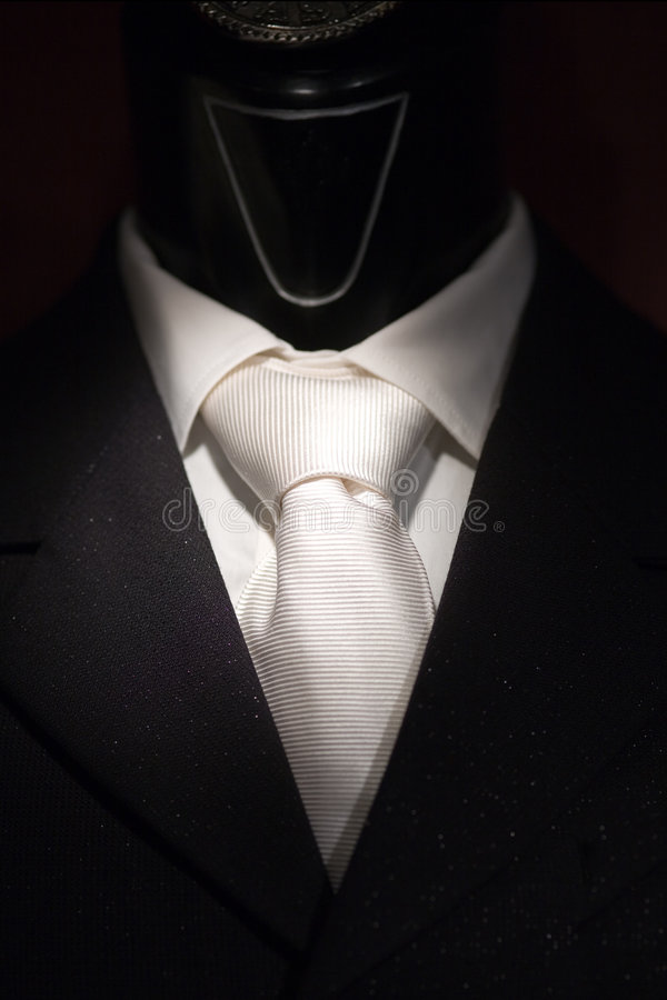 White tie and black suit on sh stock image