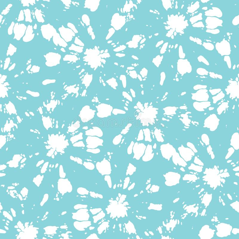 White Tie-Dye Shibori Sunburst Circles on Aqua Background Vector Seamless Pattern stock illustration