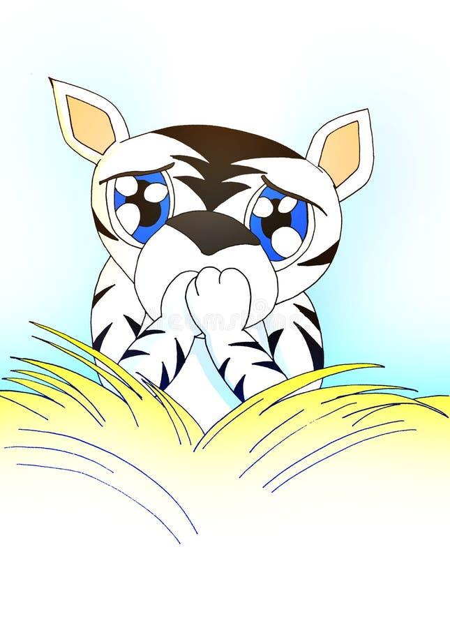 tender cartoon white tiger behind a bush