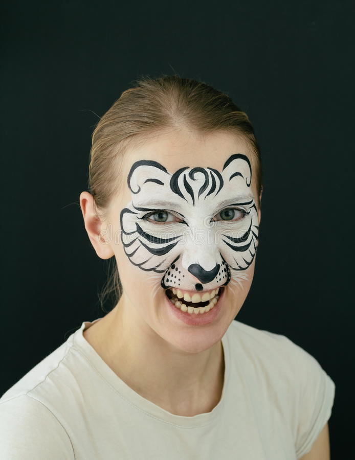 White Tiger Face Painting Stock Photo - Image: 64344595