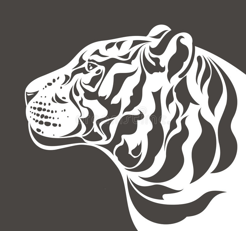 White Tiger Silhouette Royalty Free Stock Image