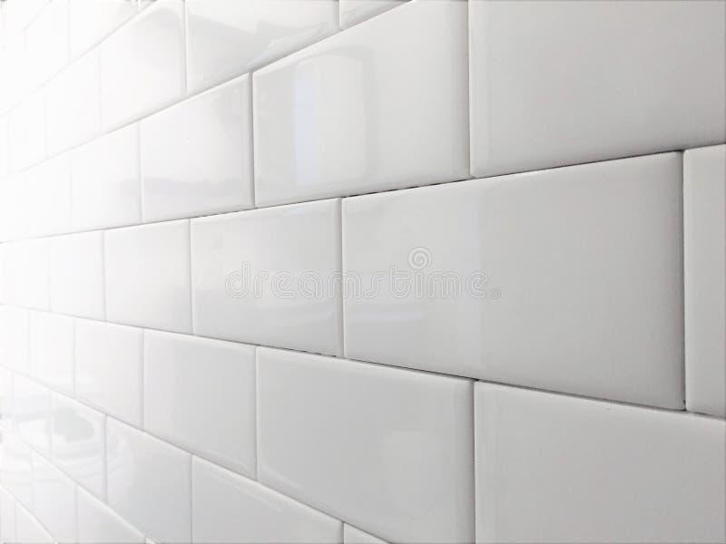 White Tile Backsplash Subway Pattern royalty free stock photography
