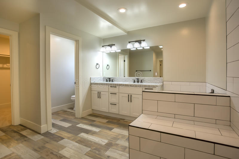 Download White Tile And Dark Wood Floors In Open Clean Bathroom Model Home  San Diego Southern