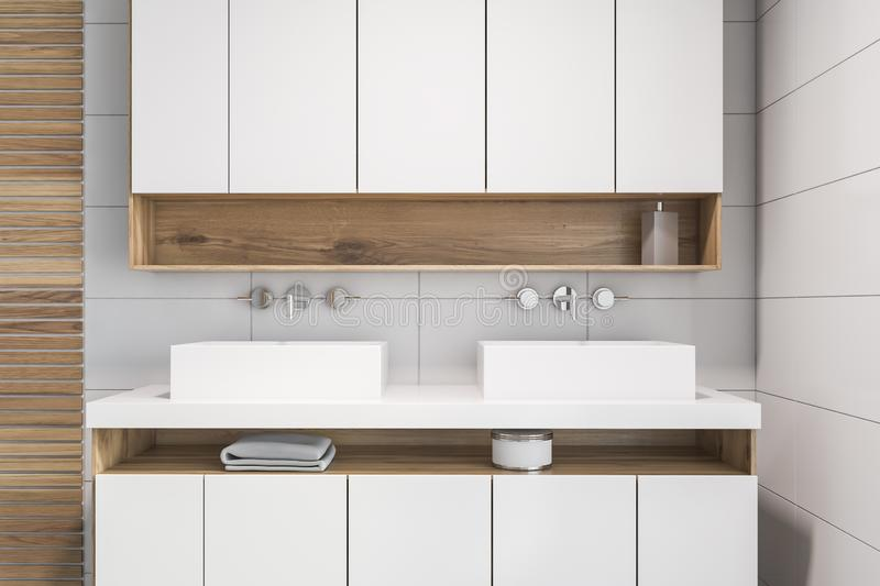 White tile and wood bathroom, double sink stock illustration