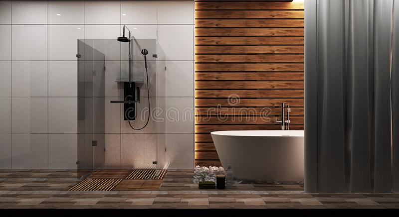White tile and wood wall bathroom interior with a round white tub, zen style. 3d rendering stock photo