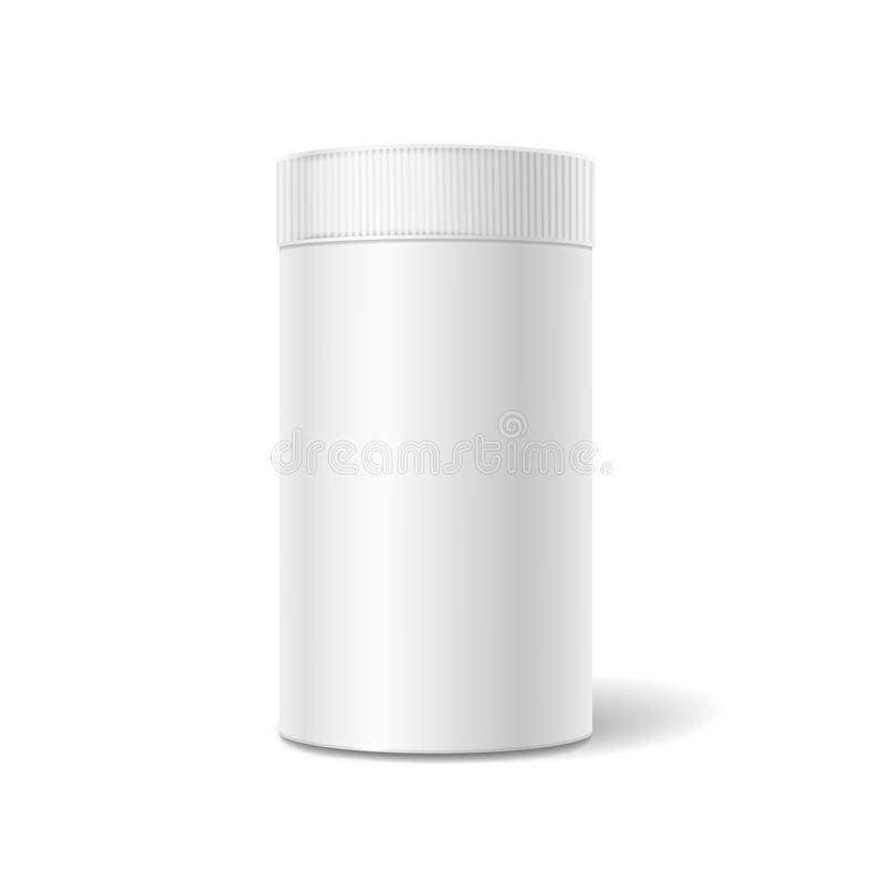 White tin box packaging container for tea or vector illustration