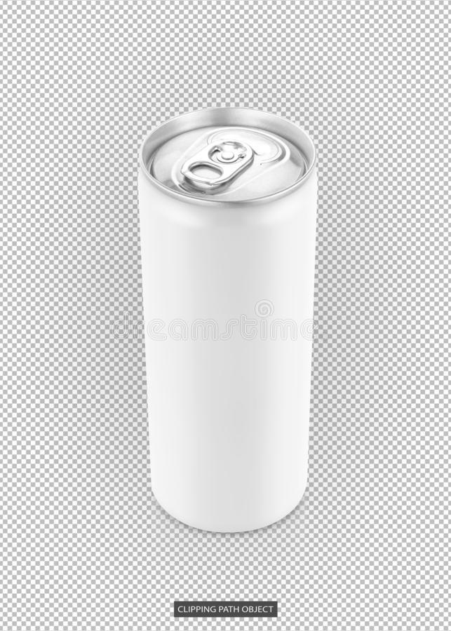 White tin can for drink beverage product design mock-up. Blank packaging white tin can for drink beverage product design mock-up isolated on virtual transparent royalty free stock photo