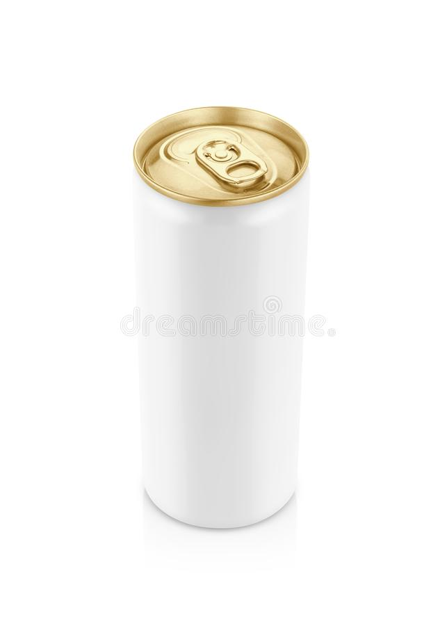White tin can with golden top for drink beverage product design mock-up. Blank packaging white tin can with golden top for drink beverage product design mock-up royalty free stock photography