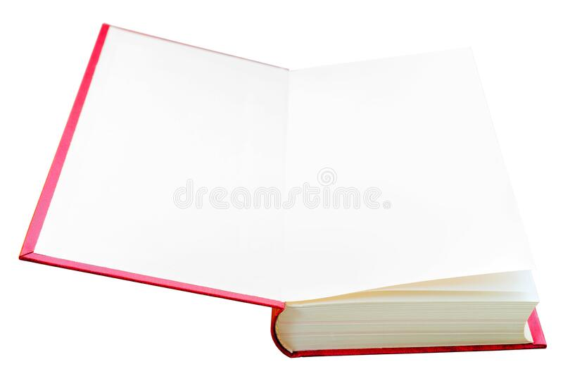 White title page. Open red book. Training and Education on pages of books royalty free stock image