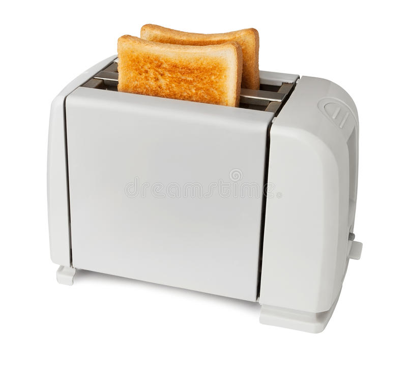 White toaster. Against white background stock images