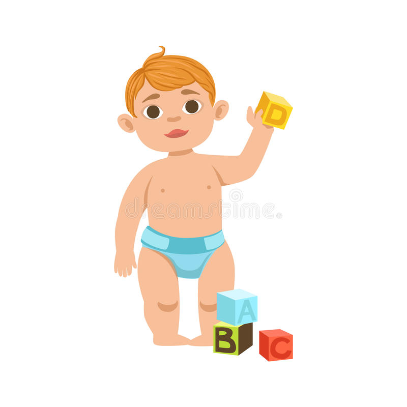 White Toddler Boy In Diaper With Cubes, Part Of Growing Stages Kids In Different Age Vector Set. White Toddler Boy In Diaper With Cubes, Part Of Growing Stages stock illustration