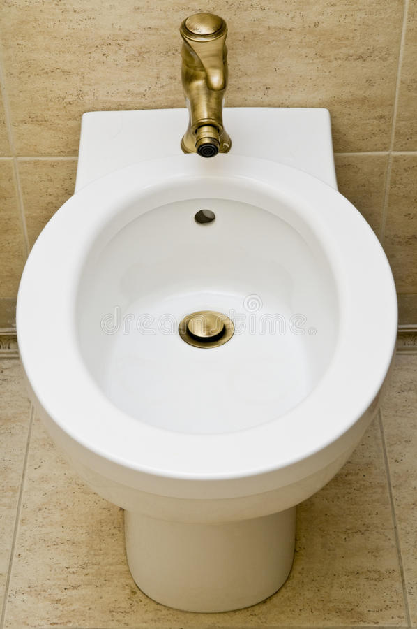 White toilet bidet object stock photo