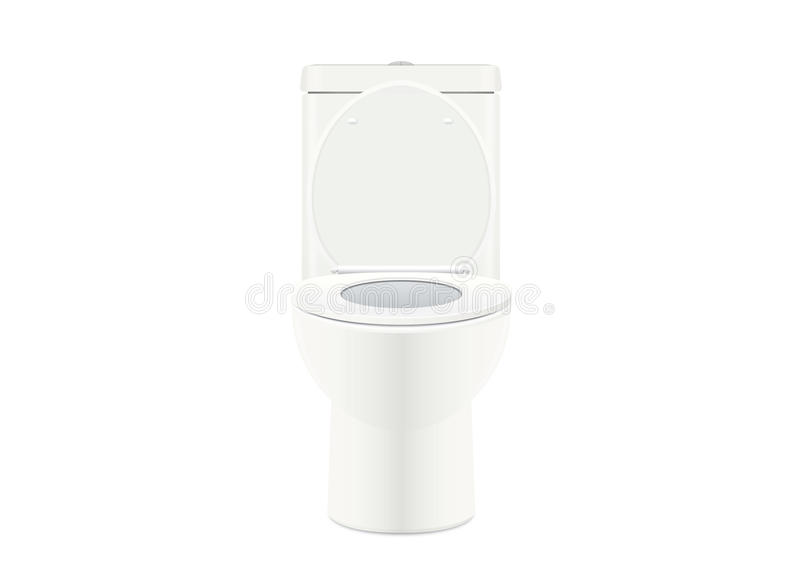 White toilet bowl. On white background. Vector about bathroom royalty free illustration
