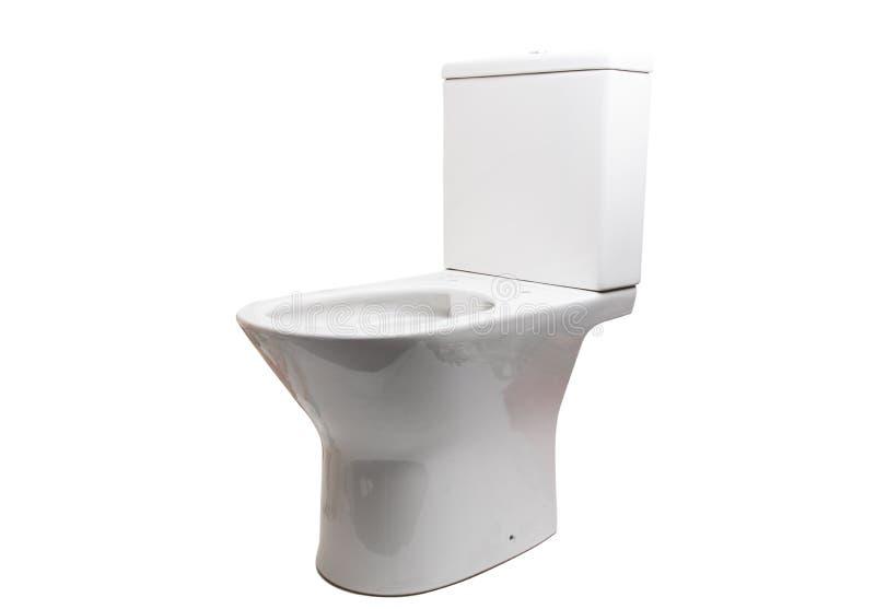 White toilet bowl isolated. On white background stock photo