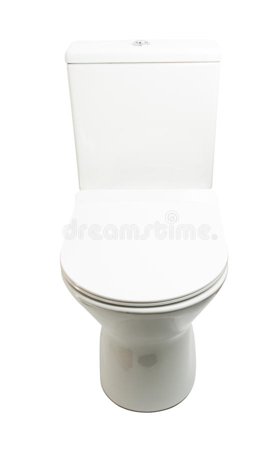 White toilet bowl isolated. On white background royalty free stock photography