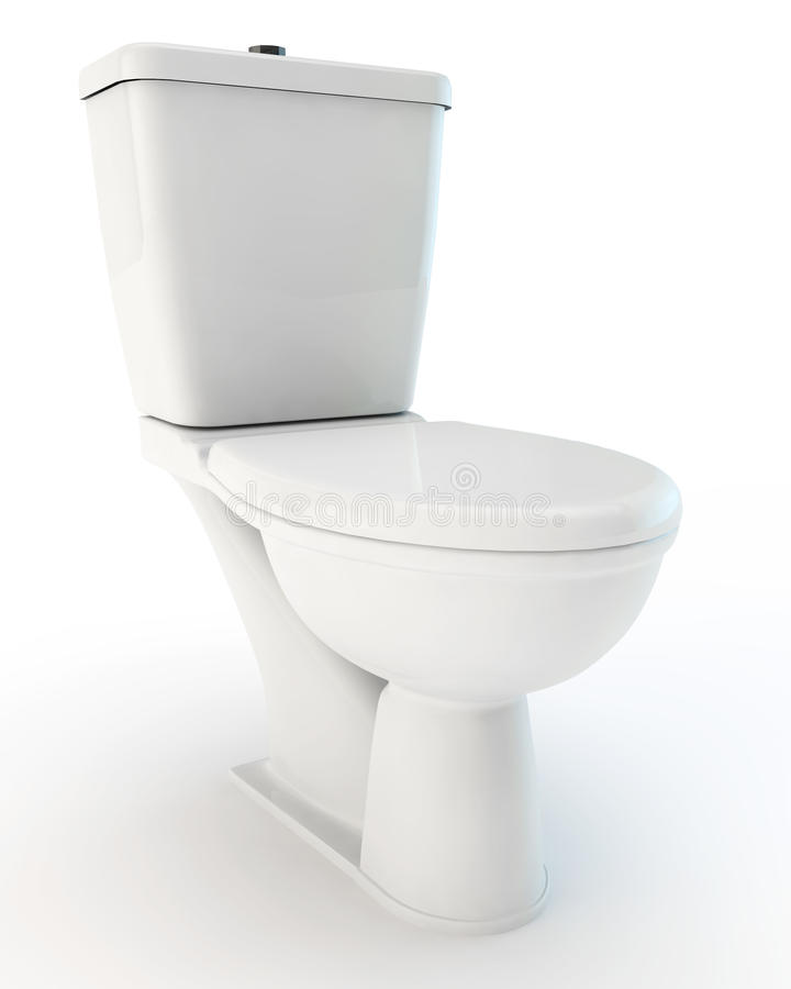 White toilet bowl. Standard white toilet bowl with the closed cover royalty free illustration