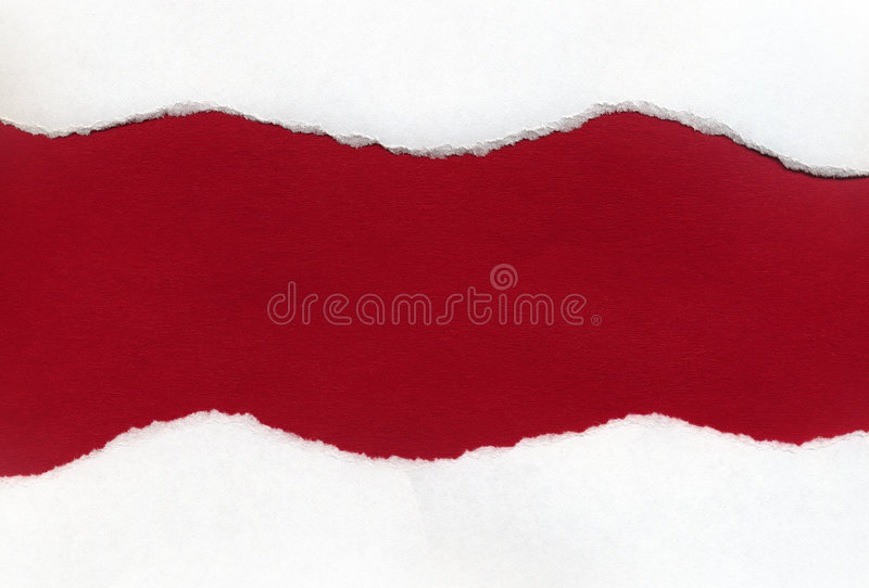 White Torn Paper Revealing a Red Background stock photography