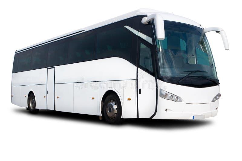 White Tour Bus stock images
