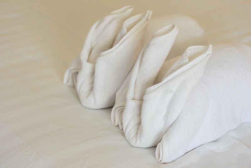 White towel rabbit shaped royalty free stock photos