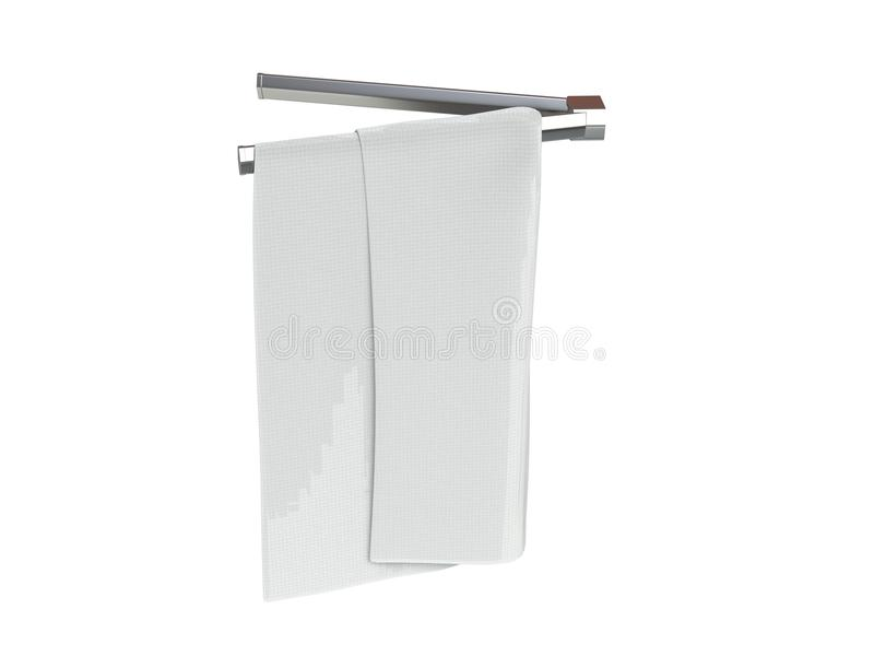 White towel on a towel rack. Isolated on white background royalty free stock photos