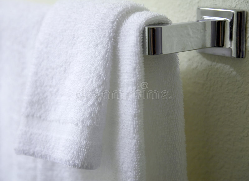 White towels hanging royalty free stock photos