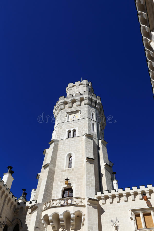 White tower of castle at Hluboka nad Vltavou town. Czech republic stock photography