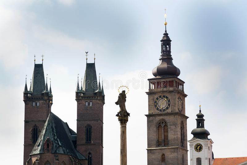 The White Tower and Cathedral of the Holy Spirit, principal church and seat of bishop of Diocese Hradec Kralove, Great Square. Czech Republic royalty free stock image