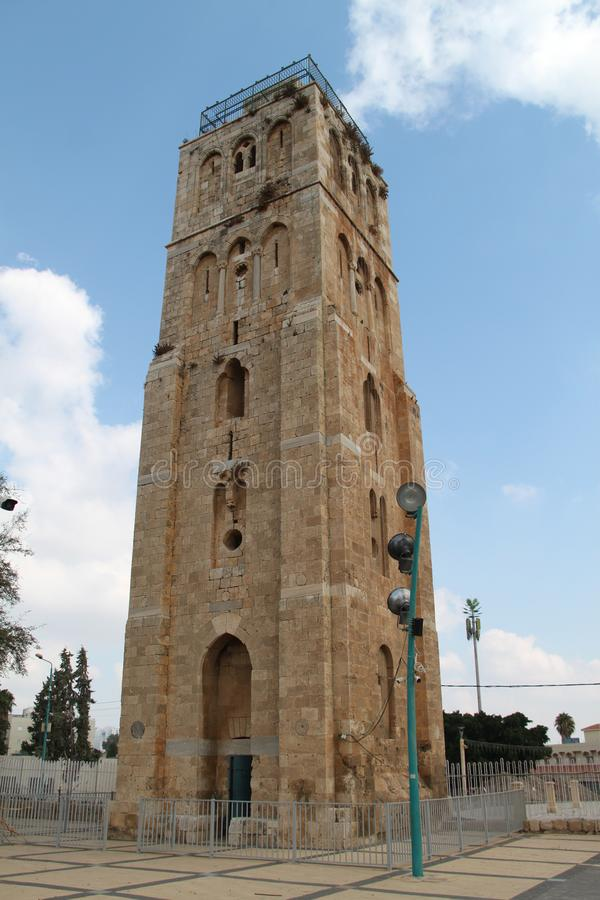 The White Tower, Ramla, Israel. The White Tower is a historic famous guard tower located in the center of the old city of Ramla, Israel stock photos