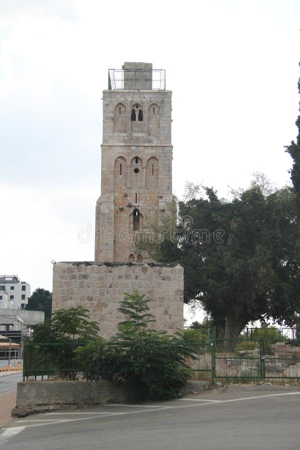 The White Tower, Ramla, Israel. The White Tower is a historic famous guard tower located in the center of the old city of Ramla, Israel stock images